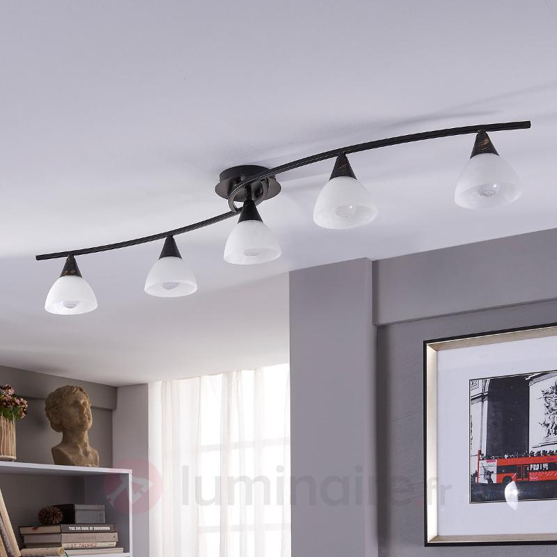Plafonnier LED à cinq lampes Della, allongée - Plafonniers LED