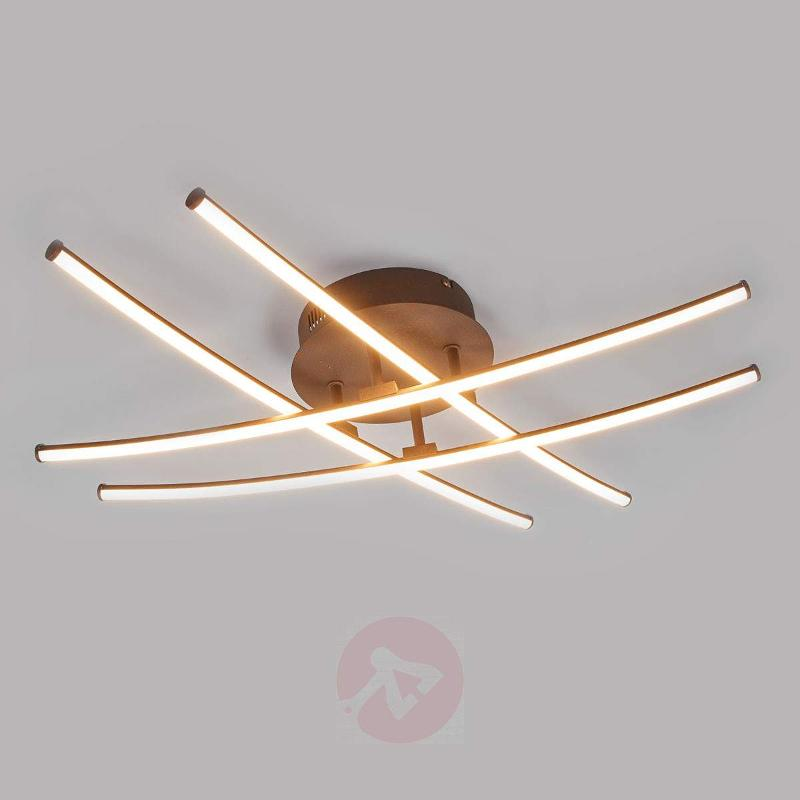 Four-bulb LED ceiling lamp Yael, rust-coloured - Ceiling Lights