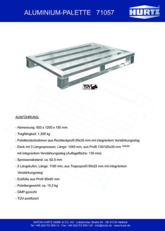 Typ 71057 - Hurtz Aluminiumpaletten - Euroformat