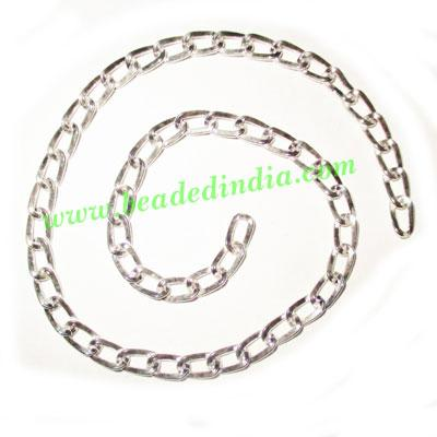 Silver Plated Metal Chain, size: 0.5x5mm, approx 32.3 meters - Silver Plated Metal Chain, size: 0.5x5mm, approx 32.3 meters in a Kg.