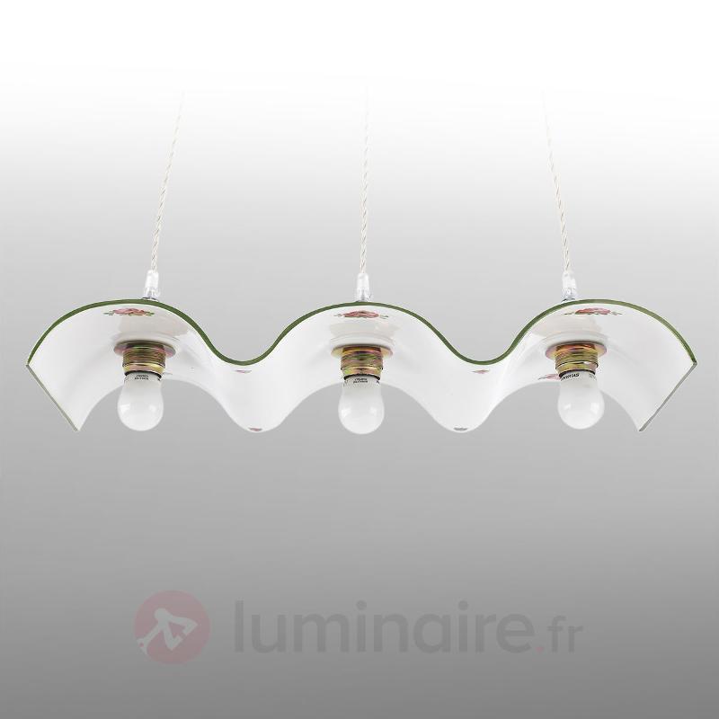 Suspension en céramique Nella à trois lampes - Suspensions rustiques