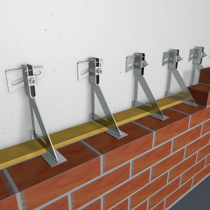 Interception brackets for facing brickwork  - MODERSOHN supplies the MOSO® support brackets, complete with building authority