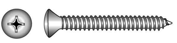 Cross recessed raised countersunk head tapping screws... - Material A2 | A4