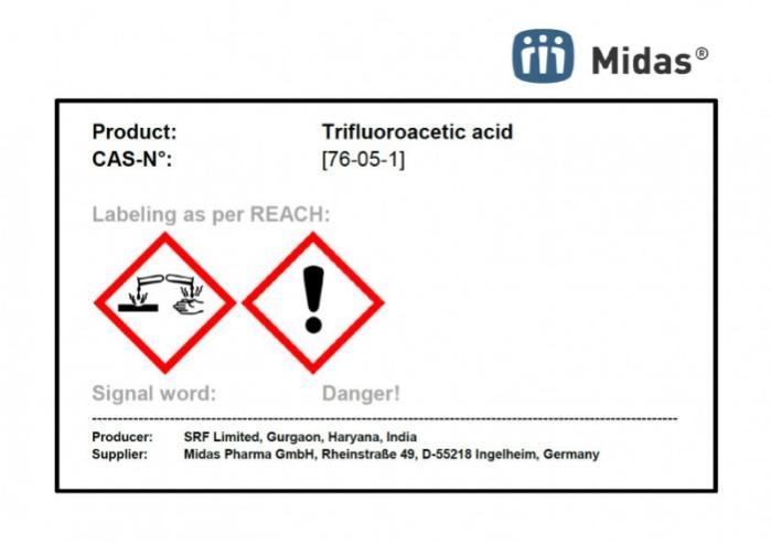 Ácido trifluoroacético - ácido 2,2,2-Trifluoroacético; CAS 76-05-1