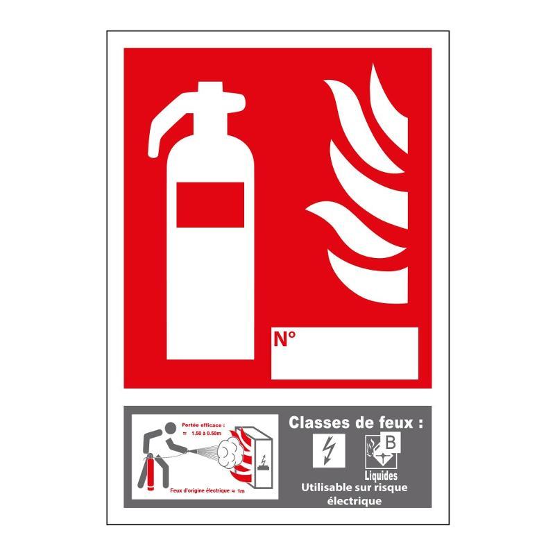 Panneau extincteur classe de feu B pvc 15 x 20 cm - Sécurité incendie