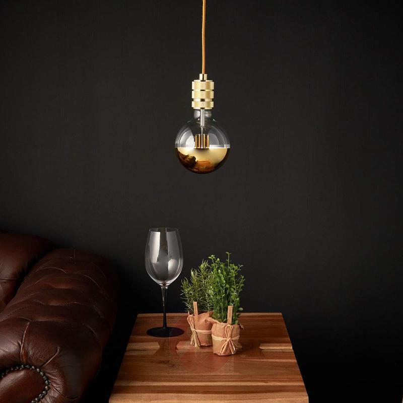 Stylish LED pendant lamp Chicago with gold finish - Pendant Lighting