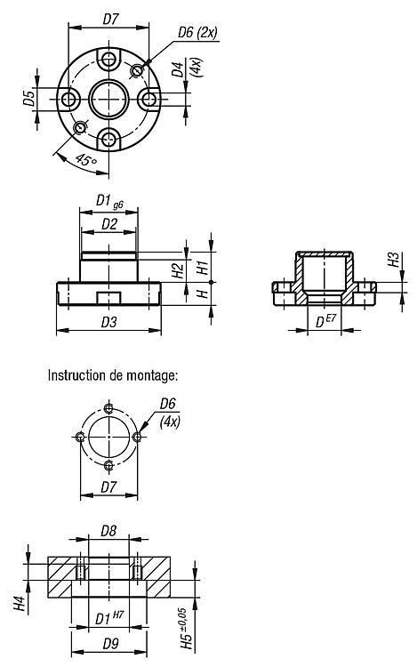 Douilles de logement pour broche pneumatique - BALL lock