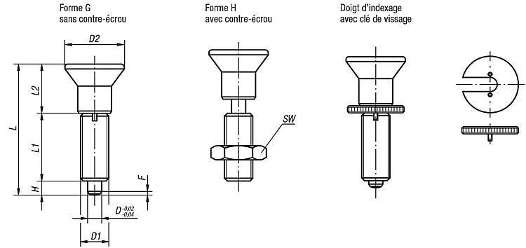 Doigt d'indexage sans collerette - Doigt d'indexage à corps lisse