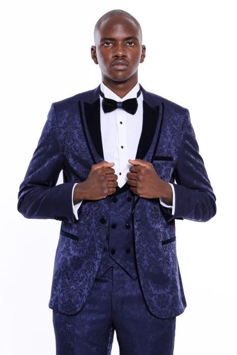 Detachable Velvet Lapel Groom Tuxedo - Detachable Navy Blue Poly-Viscose Velvet Lapel Groom Tuxedo