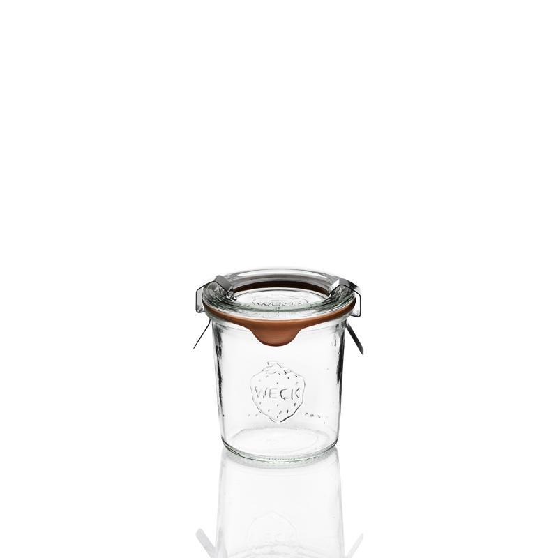 12 tarros en vidrio Weck Derecho 140 ml  - con tapas y gomas (clips no incluidos)