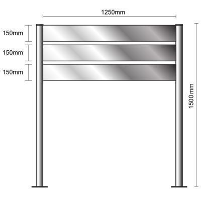 Bi-Mât aluminium anodisé H1500x1250- 3 lattes - SIGNALÉTIQUE