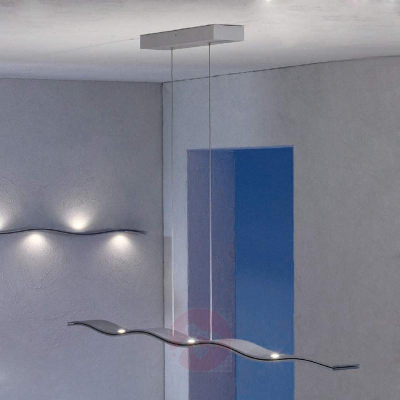 Wavy LED pendant lamp Fluid, aluminium 100cm - Pendant Lighting