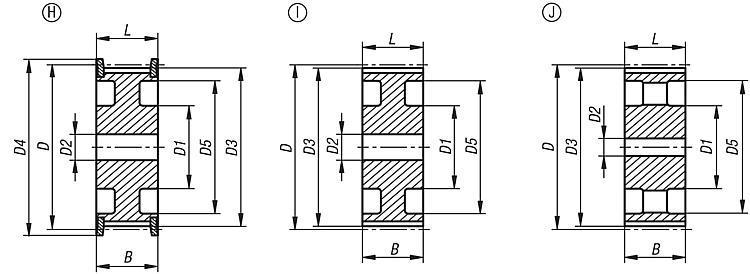 Toothed pulleys profile HTD 8M - Toothed belt pulleys Splined shaft Timing belts