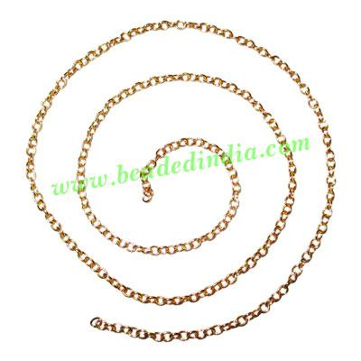 Gold Plated Metal Chain, size: 0.5x3mm, approx 93.1 meters i - Gold Plated Metal Chain, size: 0.5x3mm, approx 93.1 meters in a Kg.