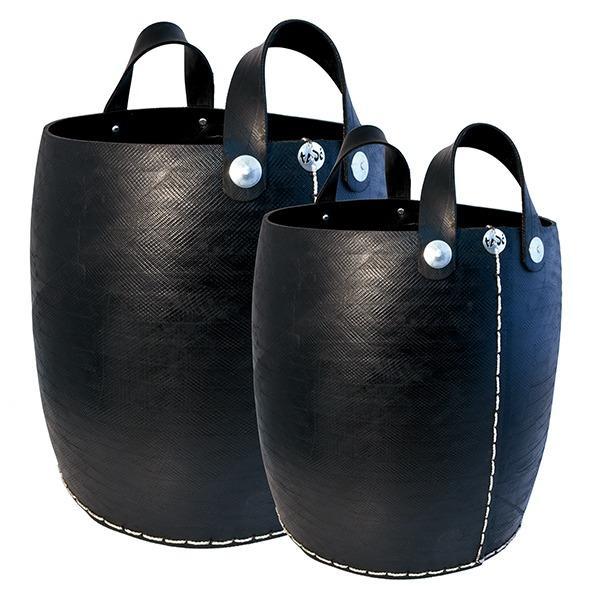 Paniers droits en pneu recylé - Pneu recyclé cousu main