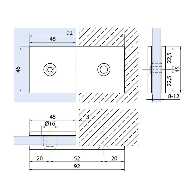 Connector glass-wall 180° - Connectors