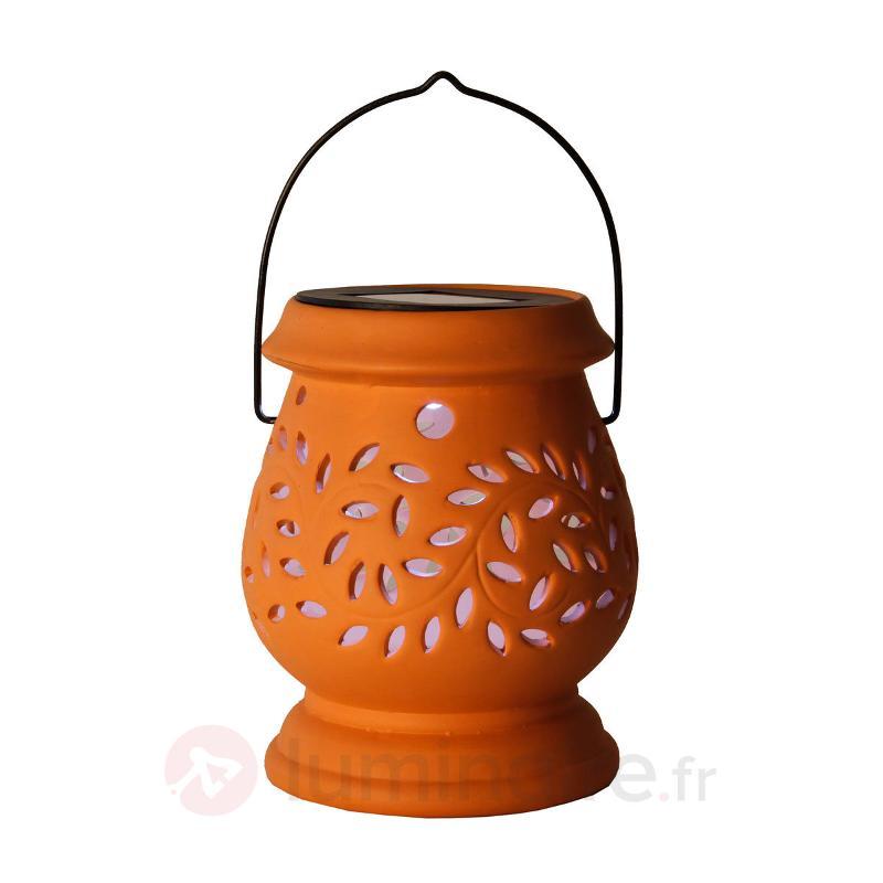 Photophore LED solaire Clay Lantern en terracotta - Lampes solaires décoratives