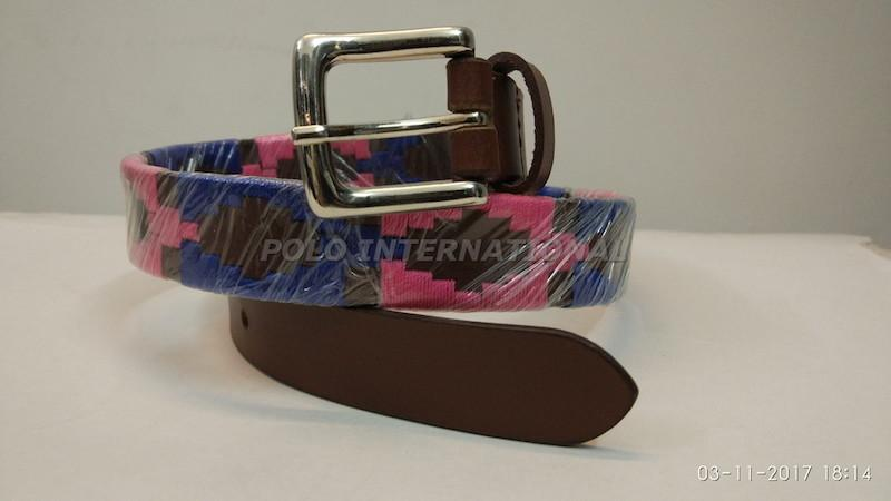 Brown polo belt - Argentinian yellow and red polo Belt for children