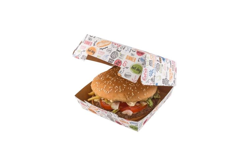 "Packaging for burgers «Enjoy» - Kraft burger box with ""enjoy"" print"