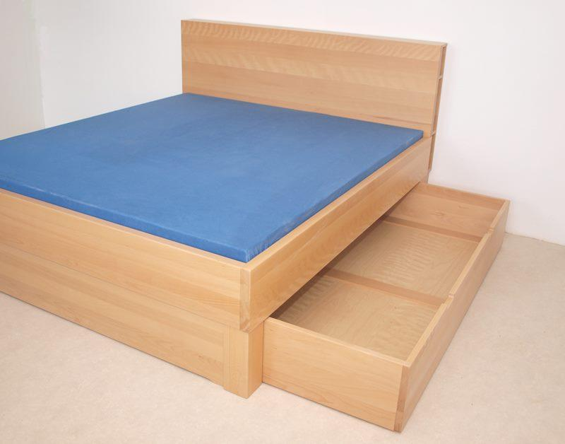 Bett Modell Allegro mit Bettkasten und Sonderückenlehne - Buche natur