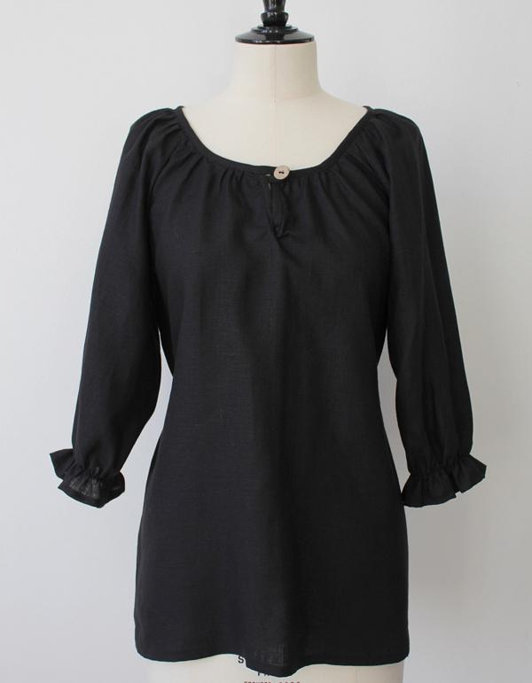 Linen Blouse in Black - Eco Linen Clothing