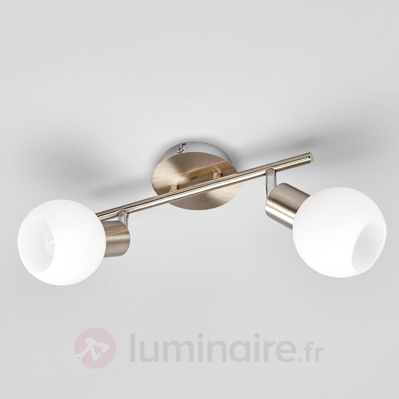 Elaina - à 2 lampes Plafonnier LED, nickel mat - Plafonniers LED
