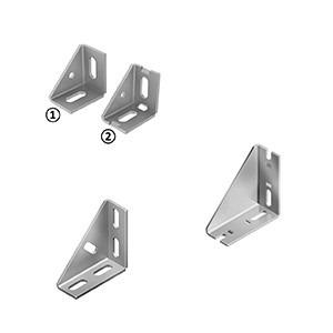 Connection Angle (Set) - Right-angled connection, various configurations, materials, hole geometries