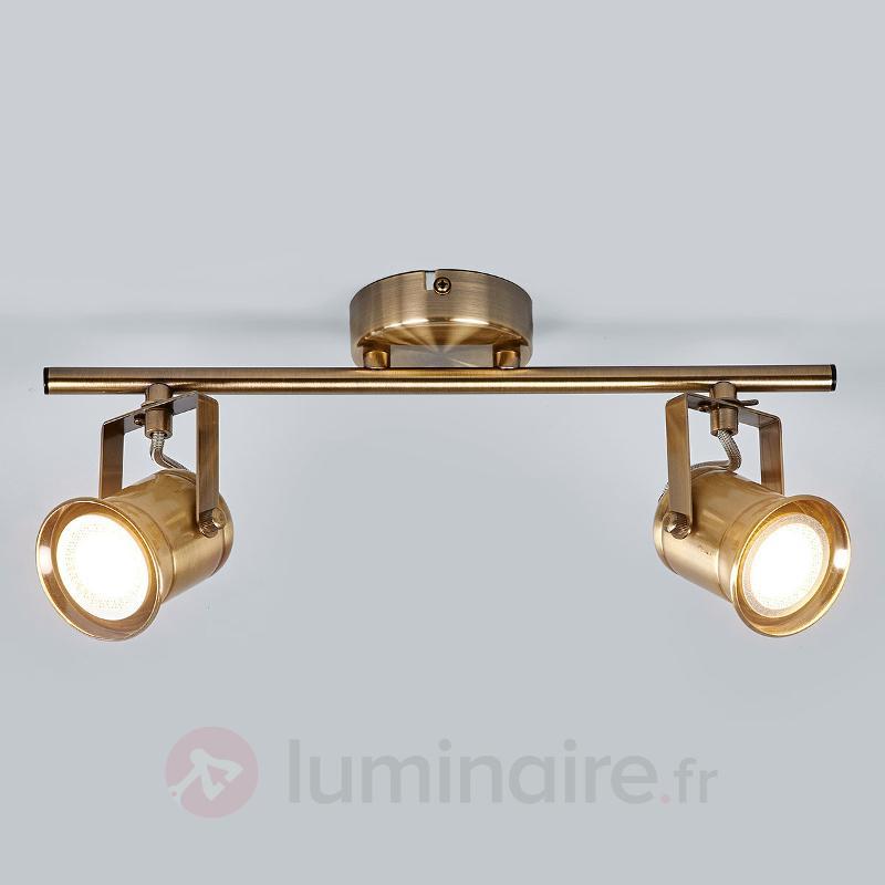 Spot GU10 Marlis à deux lampes, laiton ancien - Tous les spots et projecteurs