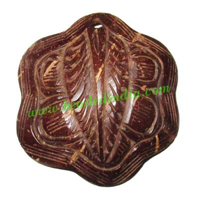 Handmade coconut shell wood pendants, size : 53x3mm - Handmade coconut shell wood pendants, size : 53x3mm