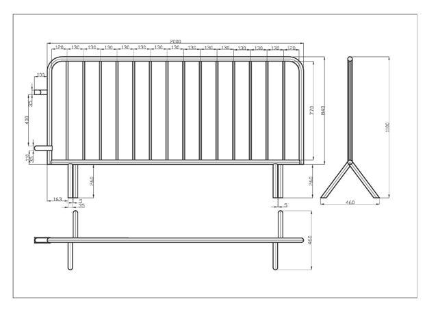 Crush barrier - 2000 x 1100 mm - 14 bars - weight 14,0 kg - SIHEKNA20