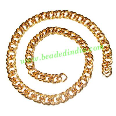 Gold Plated Metal Chain, size: 1x9mm, approx 13 meters in a  - Gold Plated Metal Chain, size: 1x9mm, approx 13 meters in a Kg.