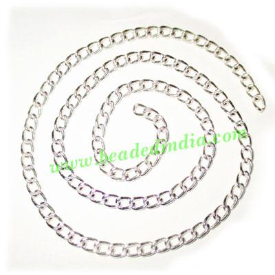 Silver Plated Metal Chain, size: 1x4mm, approx 36.3 meters i - Silver Plated Metal Chain, size: 1x4mm, approx 36.3 meters in a Kg.