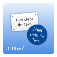 Gravurschilder (1-15 cm²) - Farbkombination: weiß | Text: schwarz | Dicke: 1,6mm weiß |