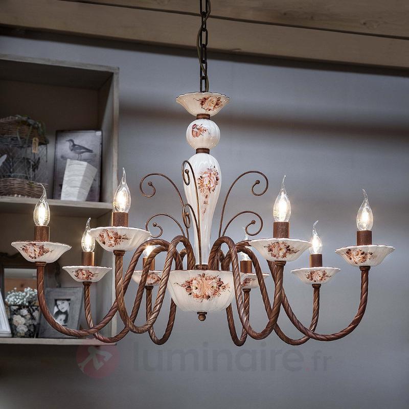 Lustre Sassari à 8 lampes en céramique - Lustres rustiques
