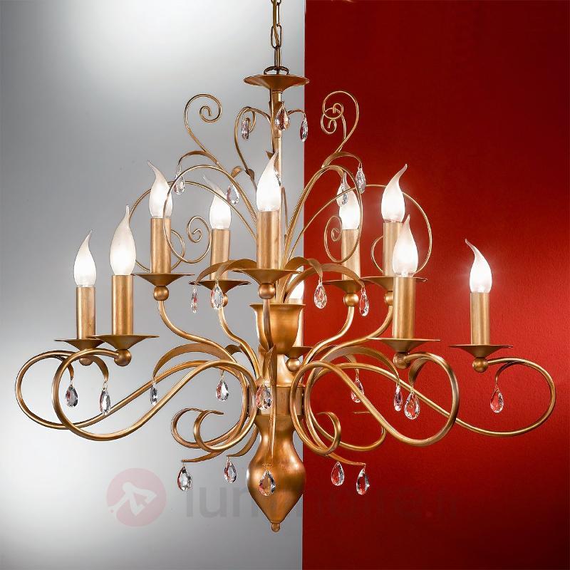 Lustre FELICE à 10 lampes, pendentif cristal - Lustres classiques,antiques