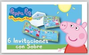 Invitaciones Peppa Pig - paquete de 6 uds