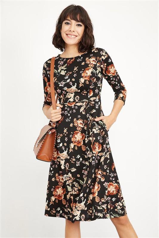 Kayak Women Black Collar Pattern Length Midi Dress - Casual Dress