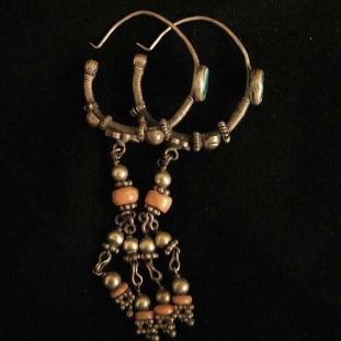Boucles d'oreilles - Argent, turquoise, corail, Inde