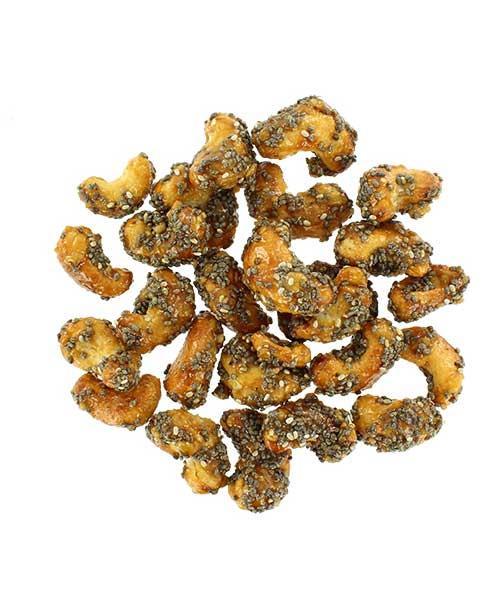 Honey chia cashews - Cashewnoten met honing en chia