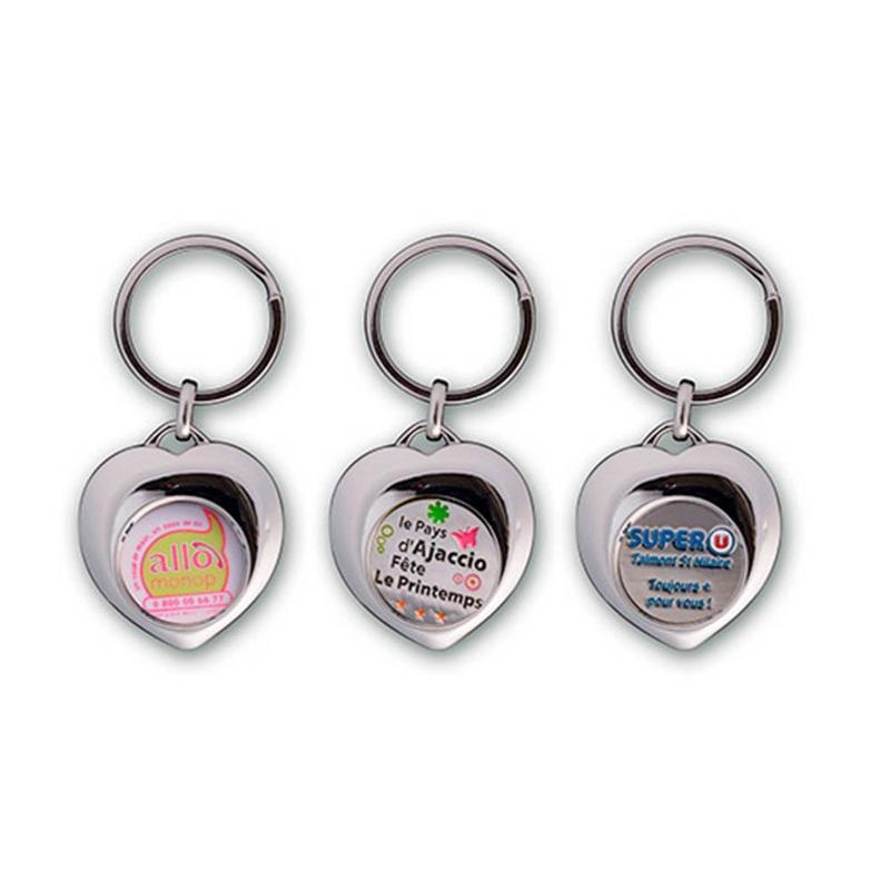 Porte-clés jeton Coeur - Porte-clés métal