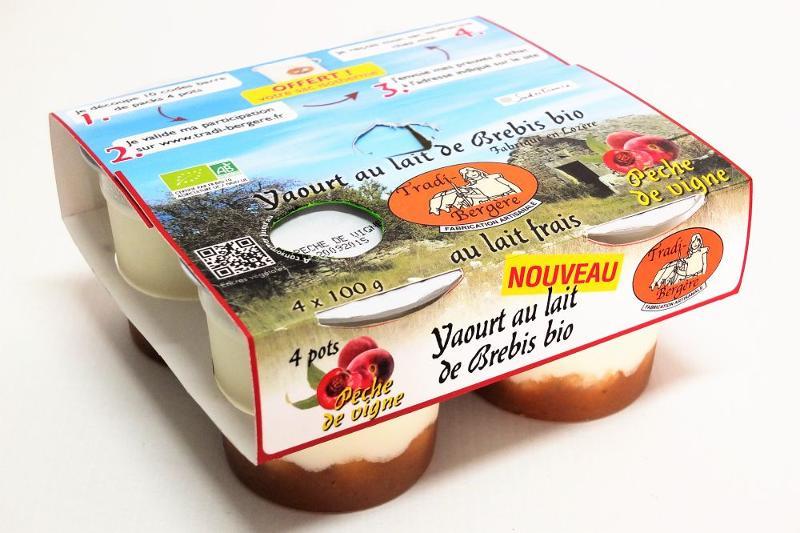 YAOURT AU LAIT DE BREBIS BIO PÊCHE DE VIGNE.(PACK 4 X 100 G) - Produits laitiers
