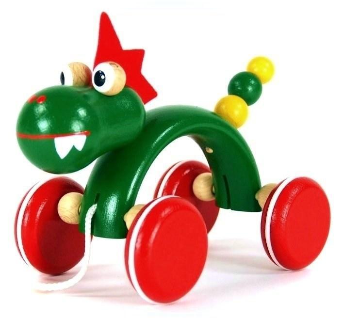 Dřevěná tahací hračka - Drak - Hračka pro děti od jednoho roku.
