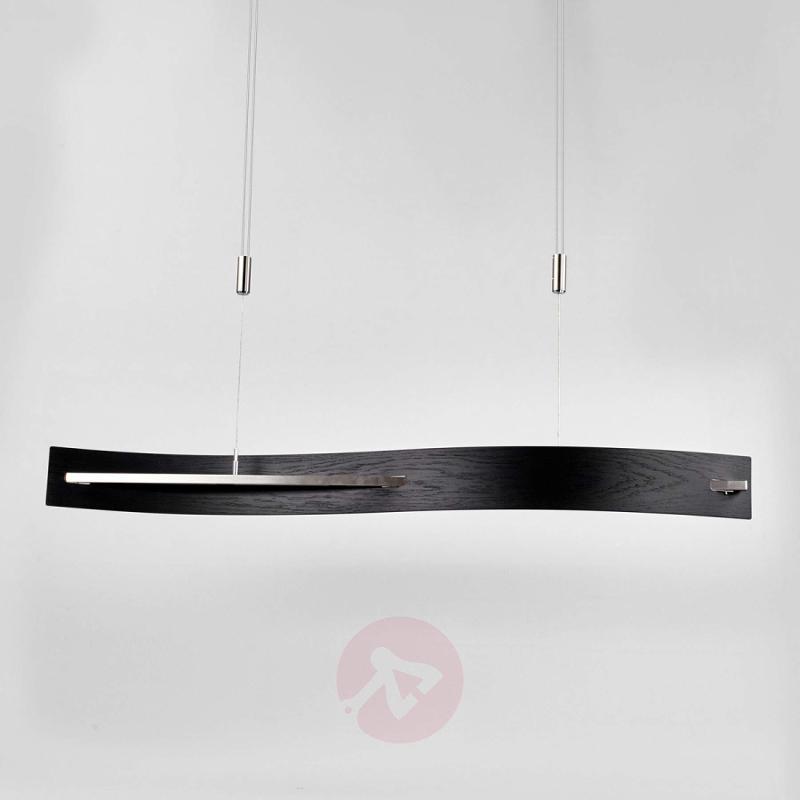 LED wooden pendant light Talu, height-adj. - indoor-lighting