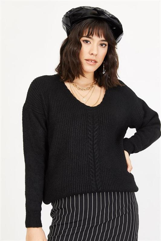 Women's Black V Neck Knitted Sweater - Women Sweater