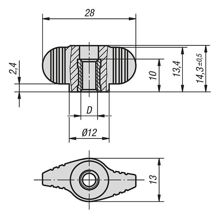 Poignée papillon « Miniwing » avec taraudage traversant - Poignées et boutons