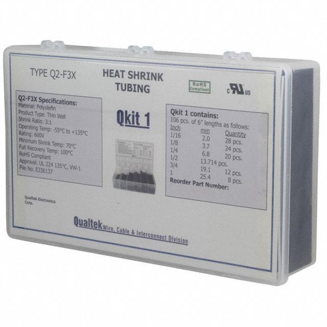 HEATSHRINK KIT 106 PC BLACK - Qualtek Q2-F3X-QK1-01-6IN-106