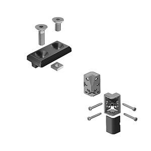 Corner connector (Set) for aluminium profile - for right-angled connection of two frame profiles, various designs