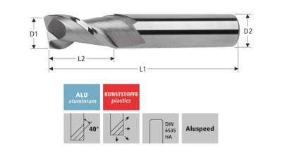 Milling Tools: for aluminium - sc double flute end mill