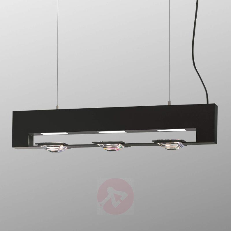 Madison Swarovski hanging light, black three-bulb - design-hotel-lighting