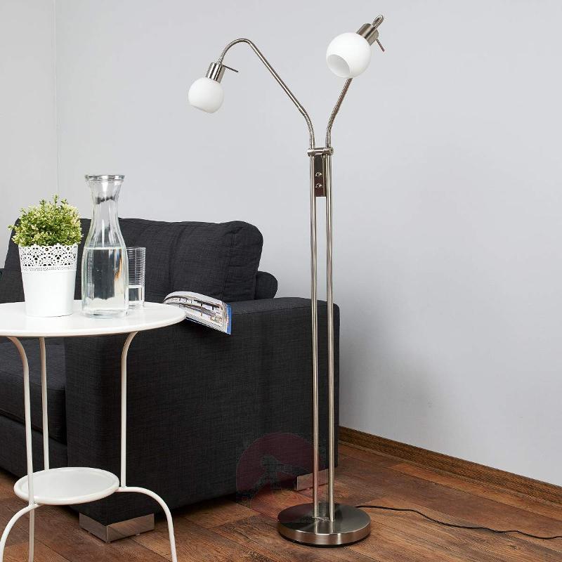 2-bulb LED floor lamp Elaina, nickel matte - Floor Lamps